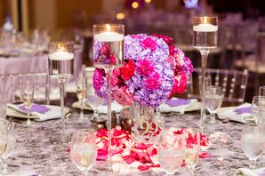 Modern Candle and Rose, Carnation and Hydrangea Centerpiece on Patterned Linen