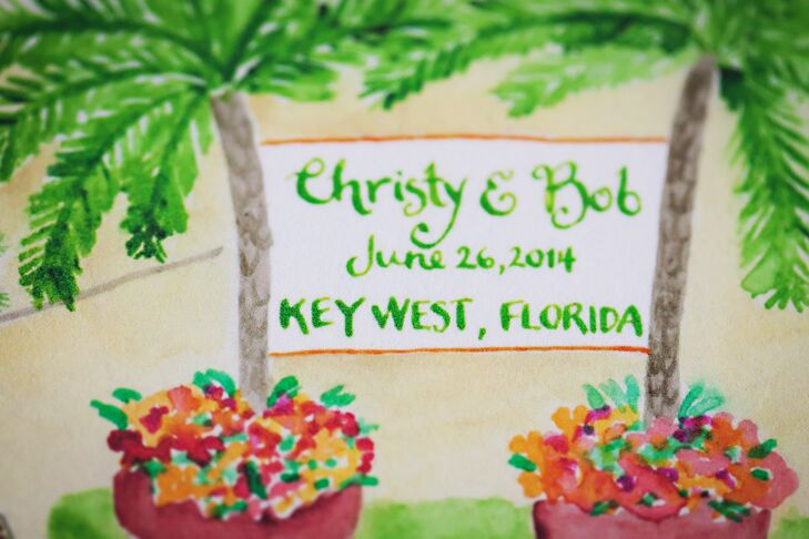 A painting of palm trees and flowers served a welcome sign for guests.
