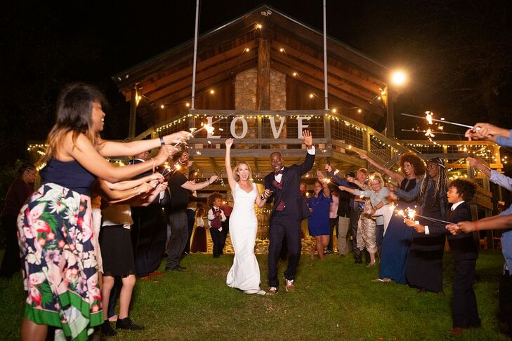 Modern Exit with Sparklers and String Lights