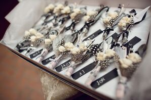 Rustic Feather Boutonnieres