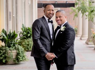 "After popping the question in Capri, Italy, Jerome Greathouse (45 and in management) and Howard ""Tito"" Peters (43 and a physician) knew they wanted to"