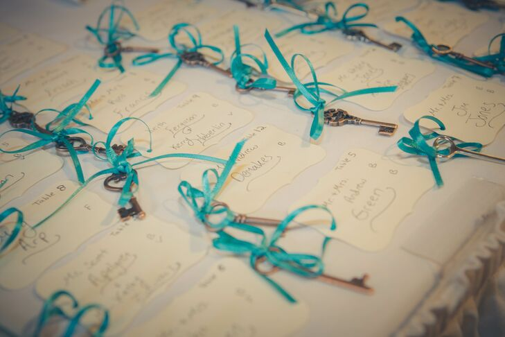 "The escort cards were tied to old-fashioned keys as another nod to the ""Alice in Wonderland"" theme."
