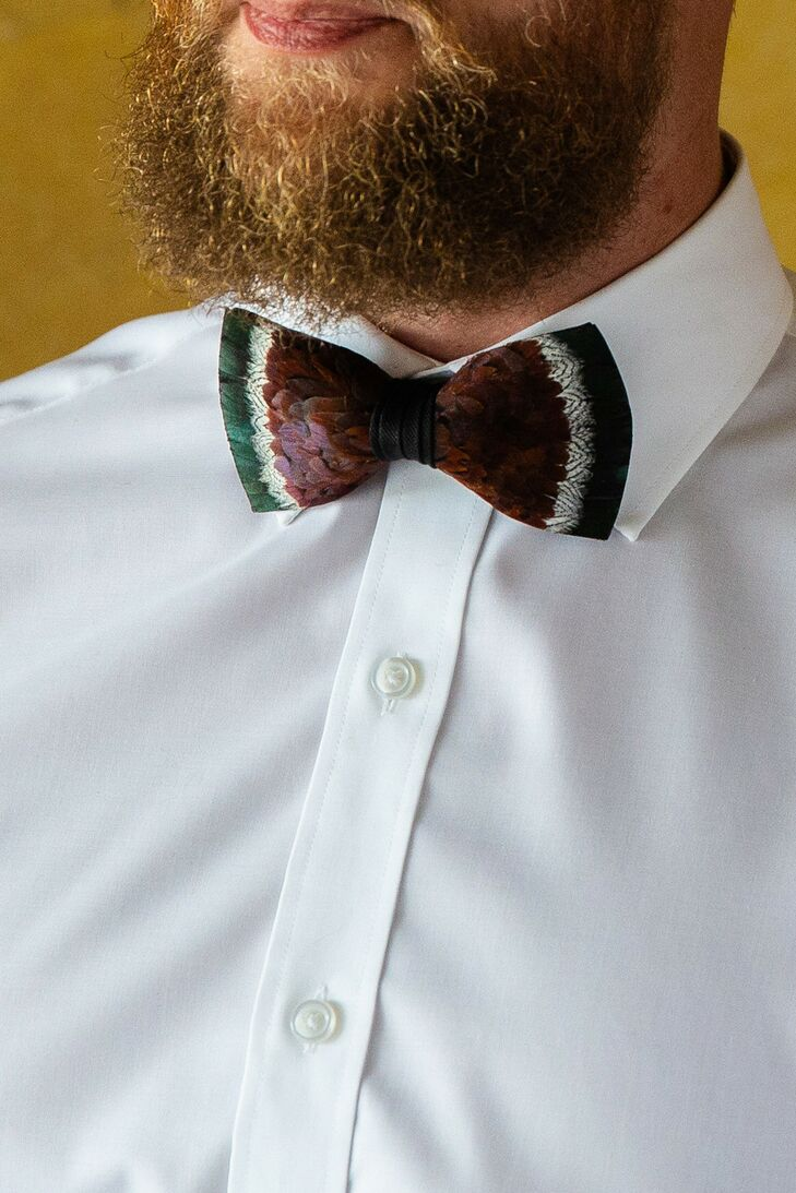 Eclectic Purple and Green Bow Tie with Classic White Shirt
