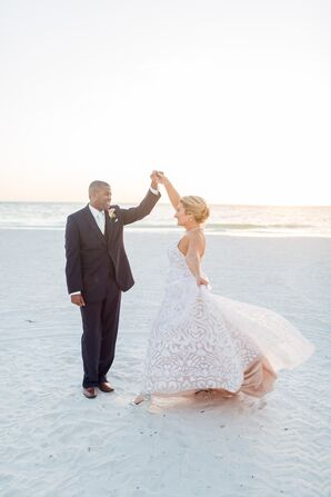Classic Three-Piece Suit and Patterned Wedding Dress
