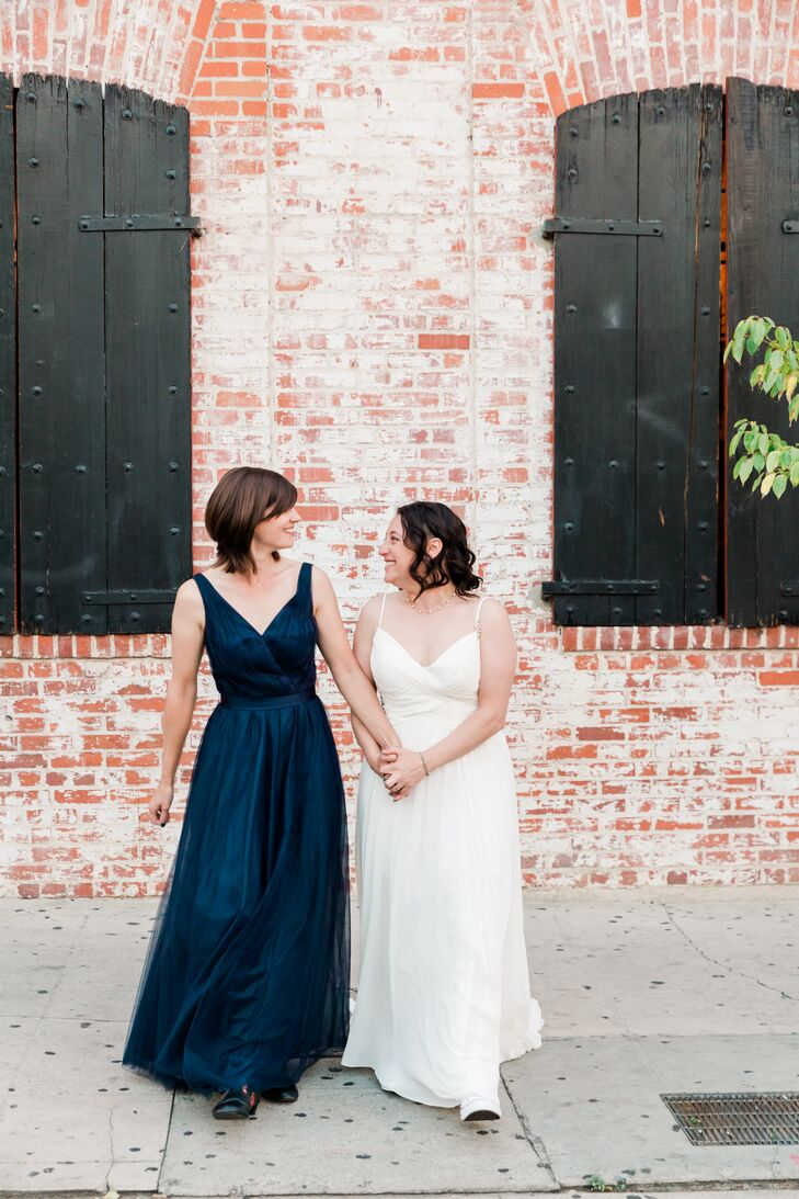 Modern Brides with Navy Dress and White Dress