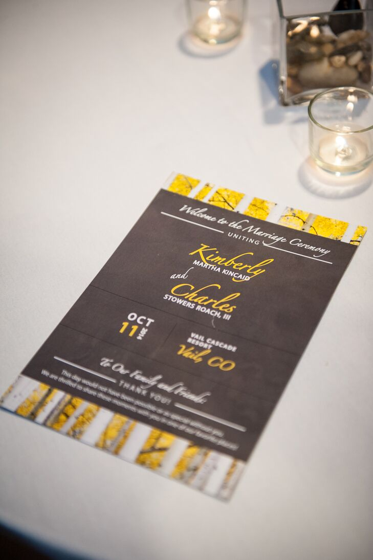 """Our invitations were yellow Aspen trees set against a gray background,"" Kimberly says. ""We decided to stick with our Aspen undertones and make our guests excited about a beautiful Colorado getaway."""