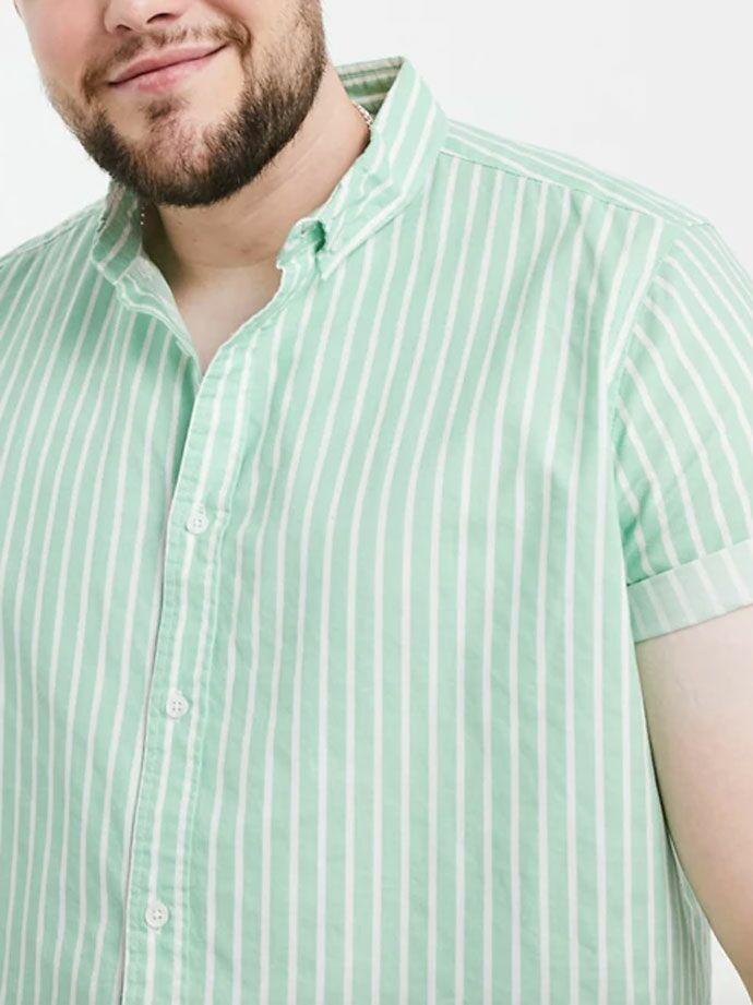 Light green mint striped dress shirt