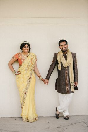 Couple in Traditional Indian Sari and Sherwani