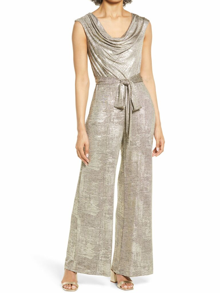 metallic knit jumpsuit with cowl neck