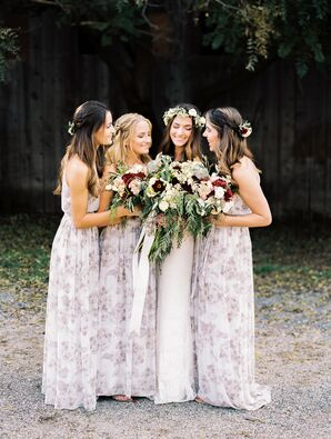 Romantic Bohemian-Inspired Bridesmaid Gowns