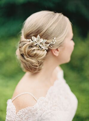 Gold and Crystal Floral Comb