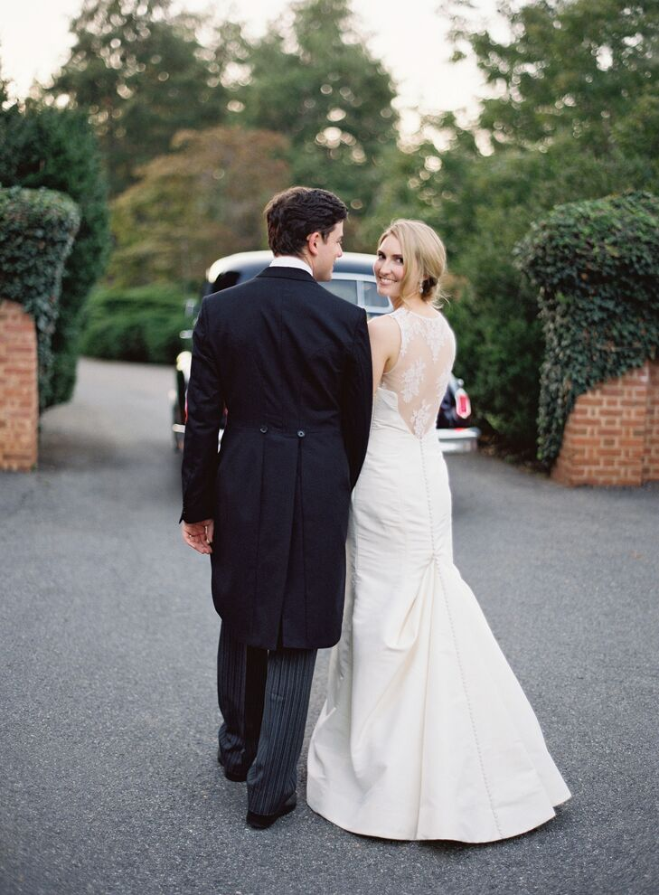 White Carolina Herrera Wedding Dress with Train