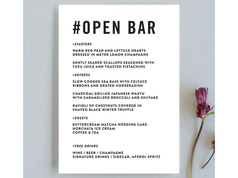 oepn bar menu cards