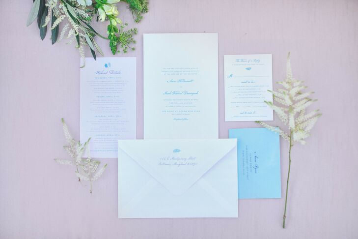 Classic Pink and Blue Wedding Invitations