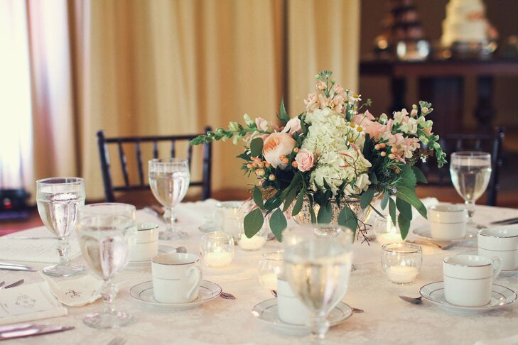 Peach Hydrangea and Rose Centerpiece