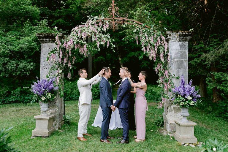 Greek Stefana ritual at outdoor wedding ceremony