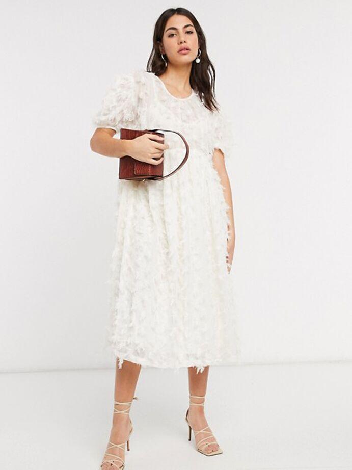 White textured midi dress with cap sleeves