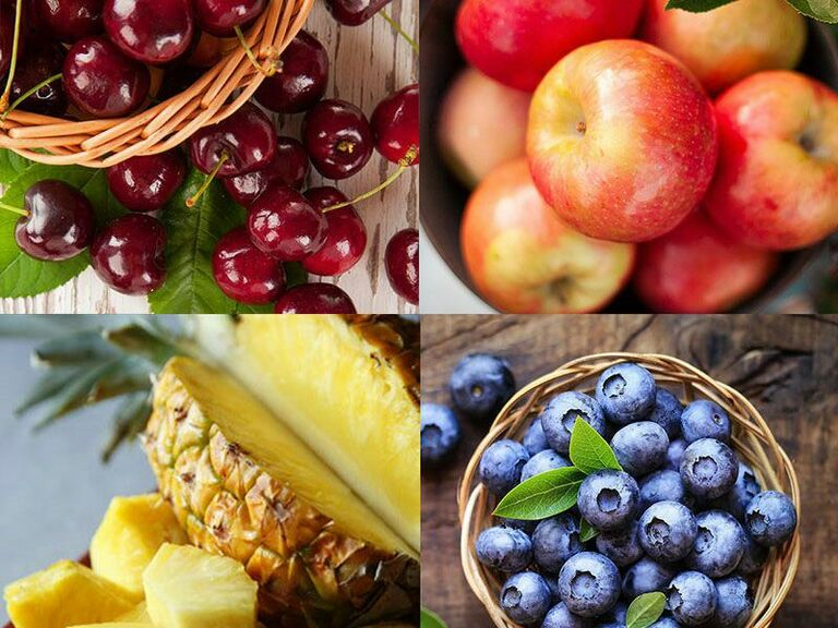 Collage of four different types of fruit