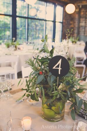Green Flower Centerpiece, Chalkboard Table Number