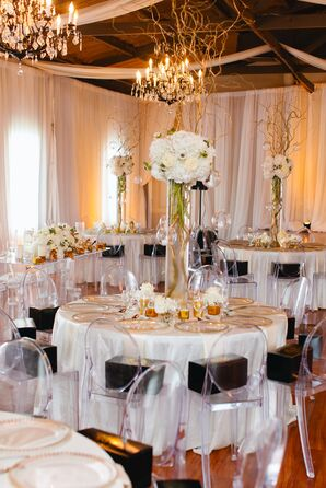 Tall Hydrangea Centerpieces and Ghost Chairs