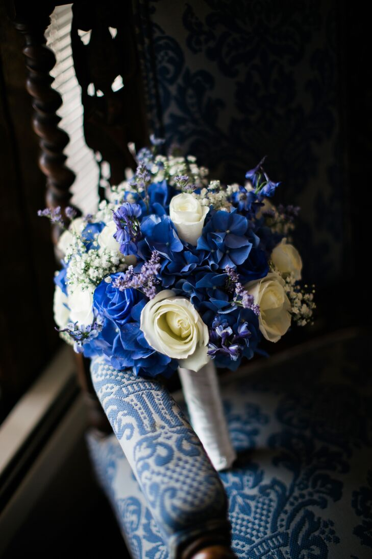 Blue Hydrangea and White Rose Bouquet