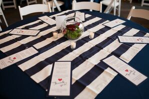 Navy and White Striped Table Linens