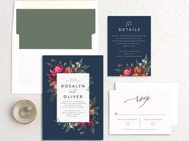 navy floral invitation suite from the knot invitations