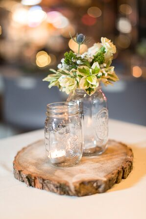 Mason Jar and Tree Slice Centerpiece