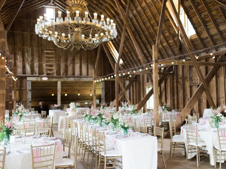 By The Knot Pink And Green Barn Wedding Reception From Eden Designs