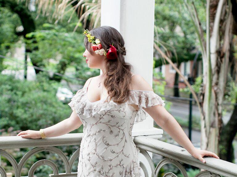 Red rose bridal flower crown