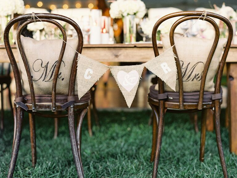 Mr and Mrs burlap chair sign