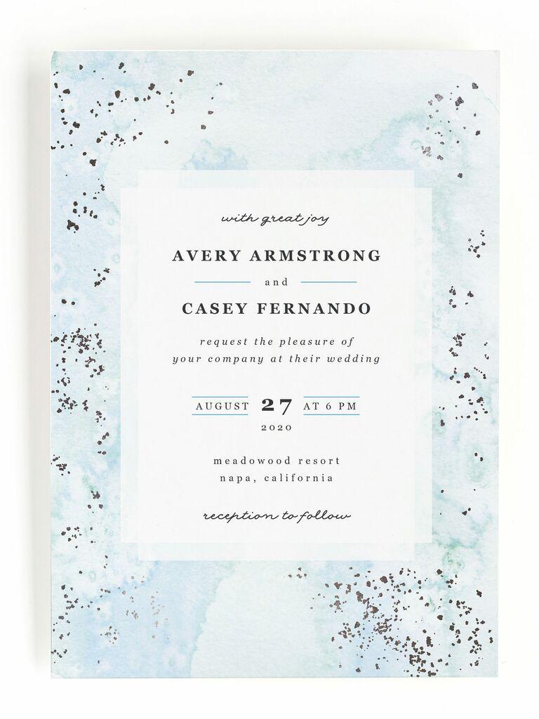 Blue metallic Minted spring wedding invitation