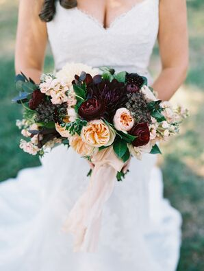 Dramatic Blush and Plum Bridal Bouquet