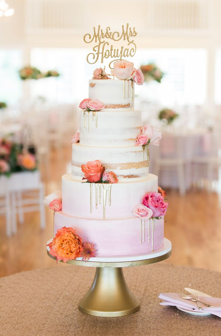 Bright, Glam Tiered Cake with Dripping Icing and Gold Topper