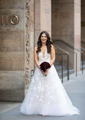 Glamorous Bride with Appliqué Wedding Dress and Black Ranunculus Bouquet