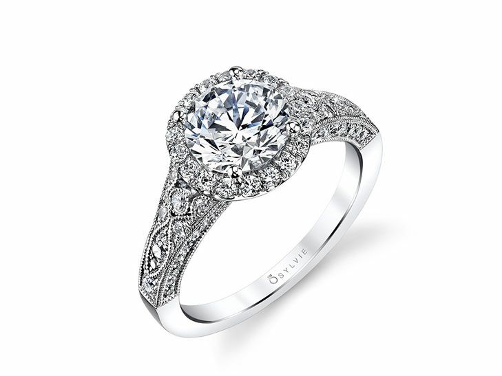 Sylvie Vintage Inspired Engagement Ring