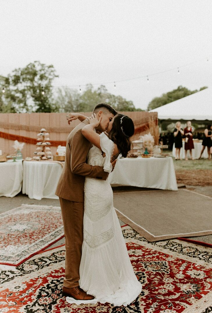 Bohemian Couple Standing on Mismatched Rug Decorations