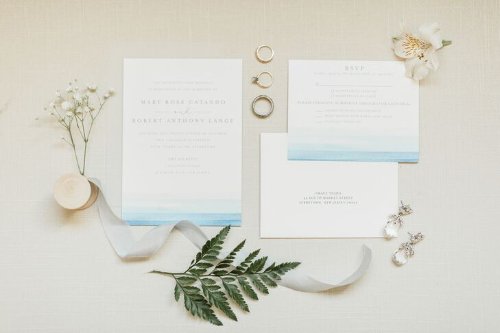 Modern Nautical Invitation Suite with Blue Watercolor Design