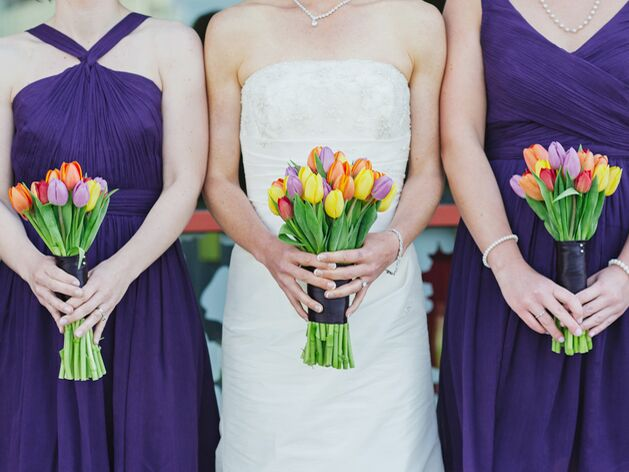 Bright colored tulip bouquets