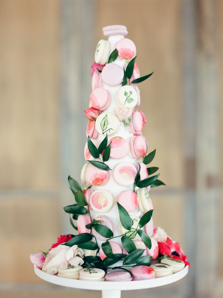 Buttercup Bakery crafted a tower to display a medley of French macarons, which the couple offered instead of a cake.