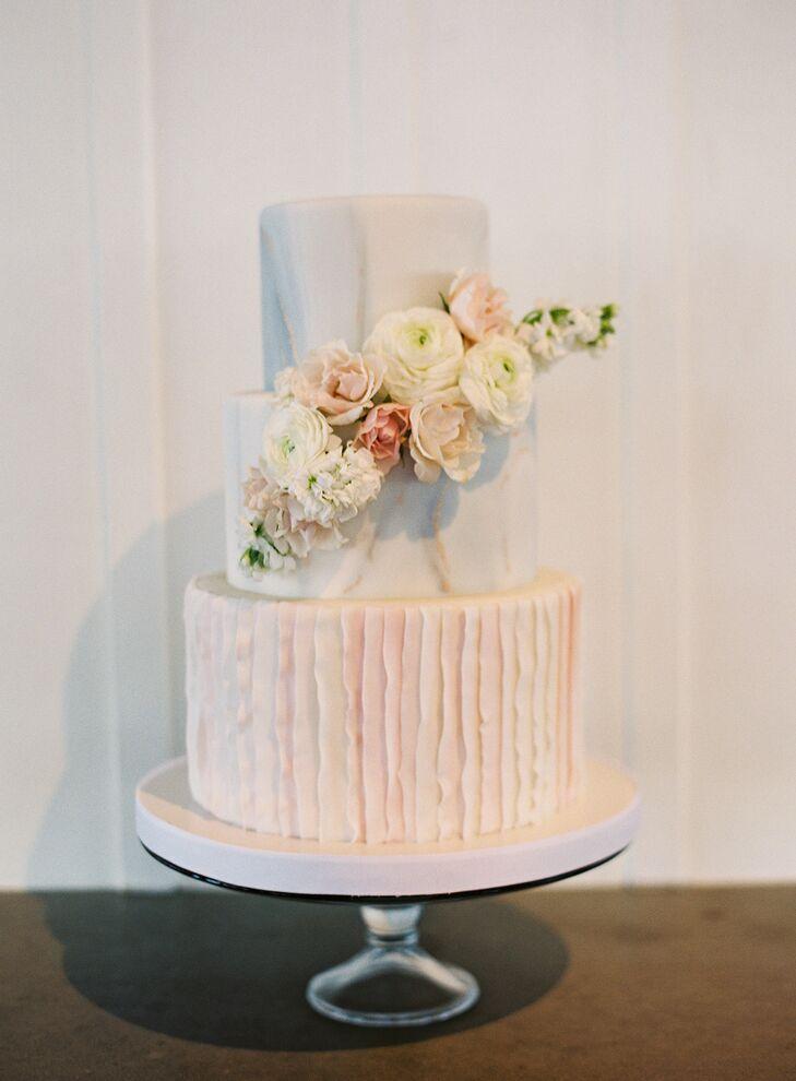Romantic Pink Wedding Cake at Carneros Inn in Napa, California