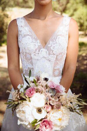 Sleeveless Jorge Manuel Wedding Dress With Illusion Bodice