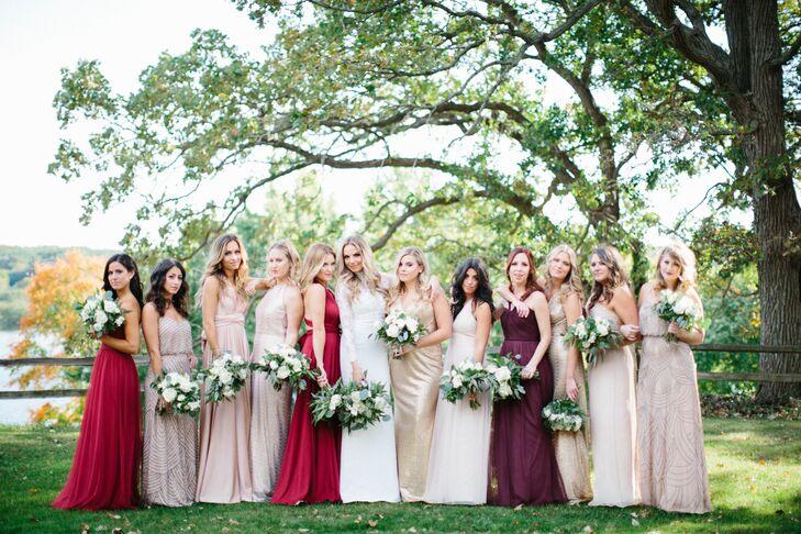Formal Gold, Blush and Burgundy Bridesmaid Dresses