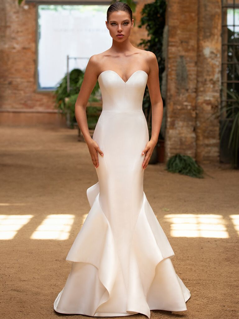 Zac Posen for White One fit-and-flare dress with sweetheart neckline
