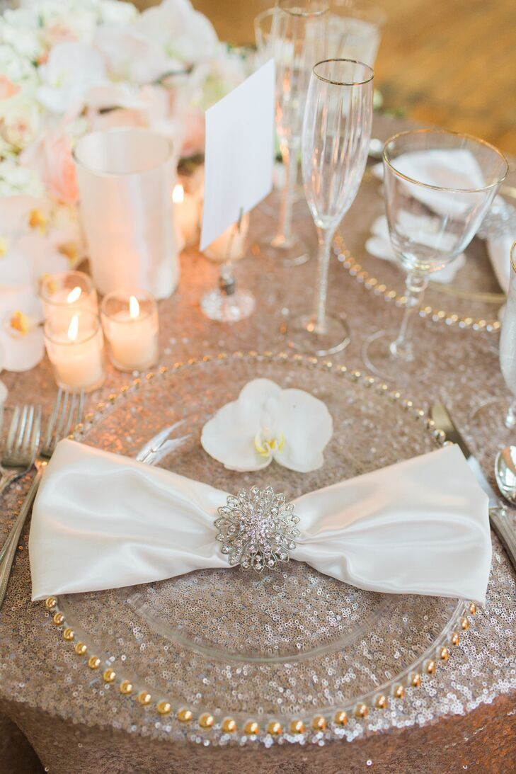 Crystal-Embellished Satin Napkins