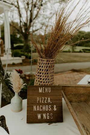 Rustic, Bohemian Decorations with Wood Letterboard Menu, Woven Vase and Grasses