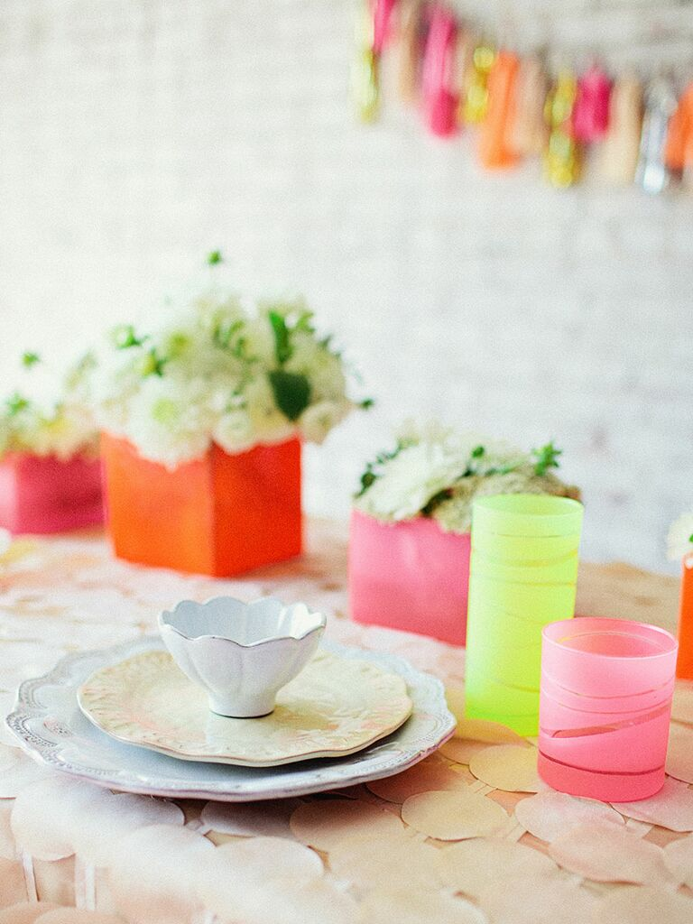 Tea party-themed bridal shower decoration