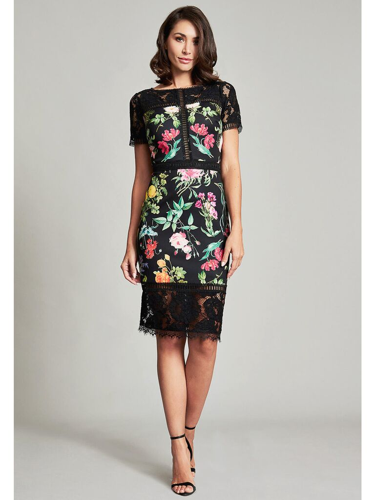 Floral midi dress with black lace