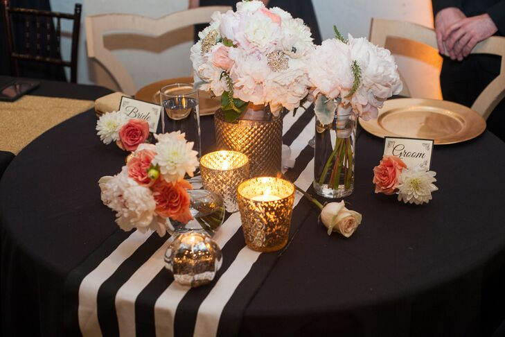 Black White And Gold Reception Centerpieces