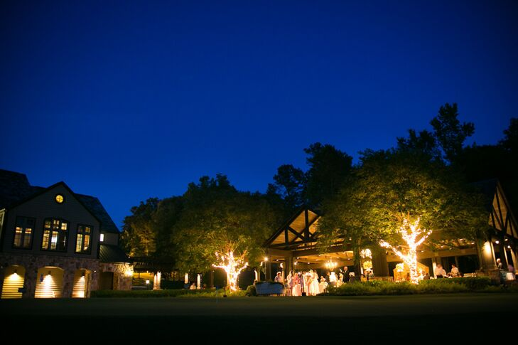 """""""Situated on a beautiful golf course, the club offers a beautiful, elegant, rustic and very large covered pavilion for private events,"""" Hayley says. """"It also has a large patio that expands past the pavilion that made for the perfect place for the band and dance floor to be set up."""""""